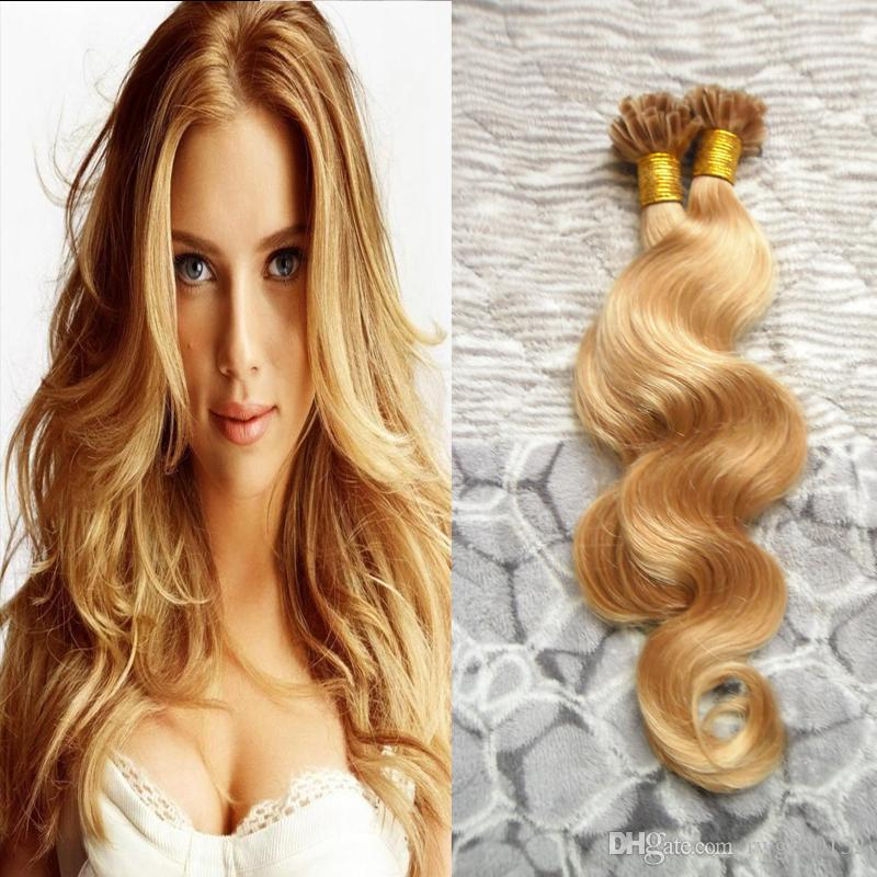 Honey blonde brazilian hair u tip human hair extensions body wave see larger image pmusecretfo Image collections