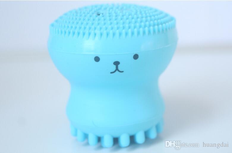 Lavar los cepillos Super Little Cute Octopus Face Cleaner Masaje Soft Silicone Facial Brush Limpiadores faciales Blackhead Spot Acne