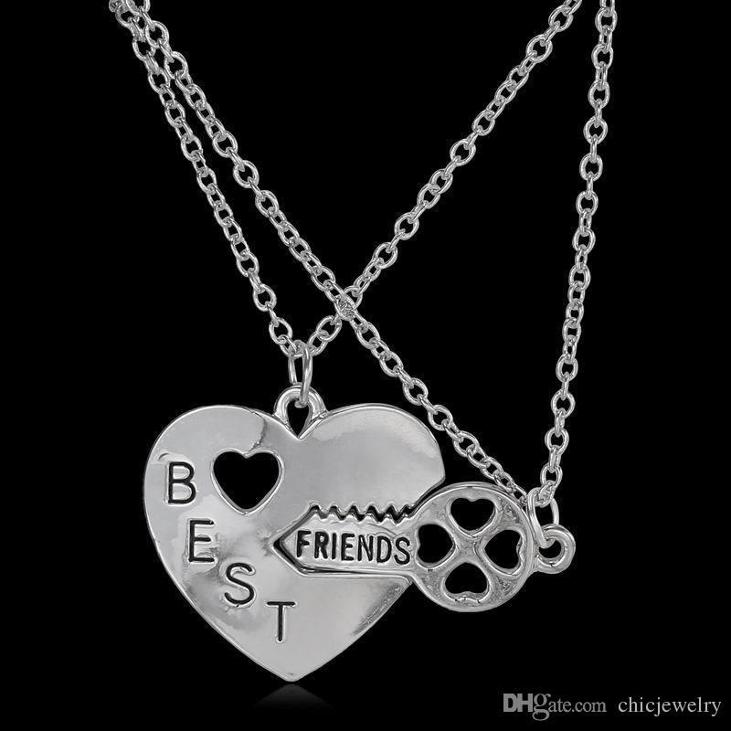 32761175c563 Compre Carta Mejor Amigo Amistad Corazón Llave Collar De Plata Colgante  Pareja BFF Collar De Aleación Joyería Collares Pendientes Moda Para Mujer  Cadena A ...