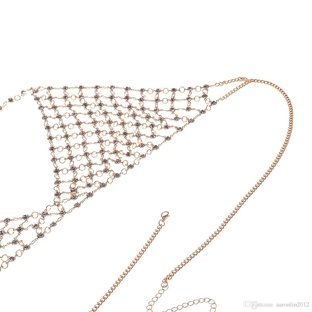 Fashion Brand Caw Crystal Bra Slave Harness Body chain Women rhinestone Choker Necklace Sexy Bikini Beach belly chains Body Jewelry 2017