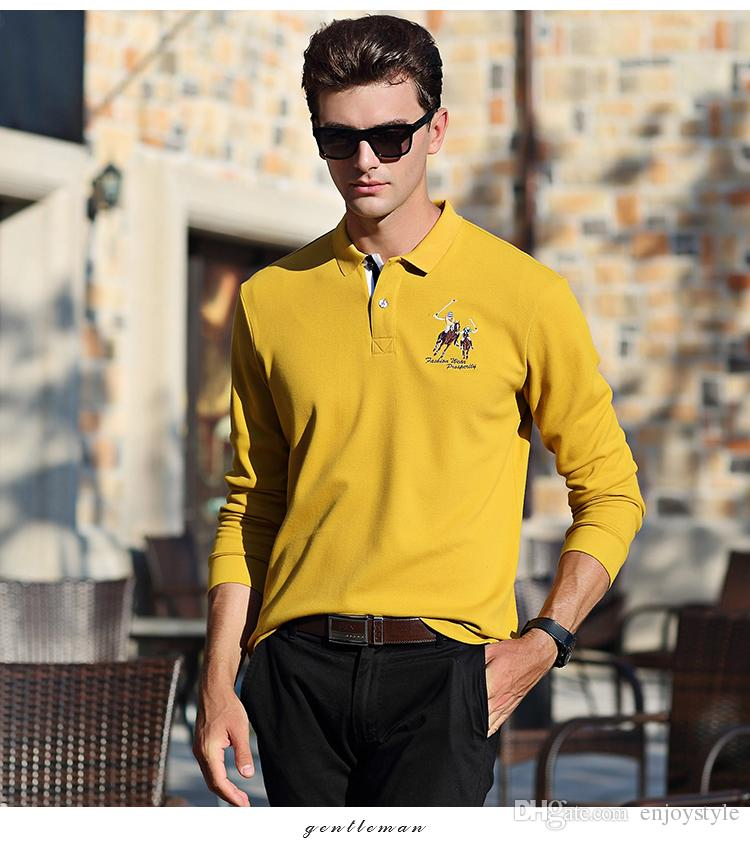 27ac46094 DESCRIPTIONFree shipping men's fashio polo T-shirt plus size blue yellow  red black gray colors cotton material business leisure wear long sleeve fall