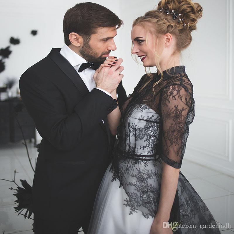 Compre Blanco Y Negro Alto Cuello Vestidos De Novia Con La Chaqueta ...