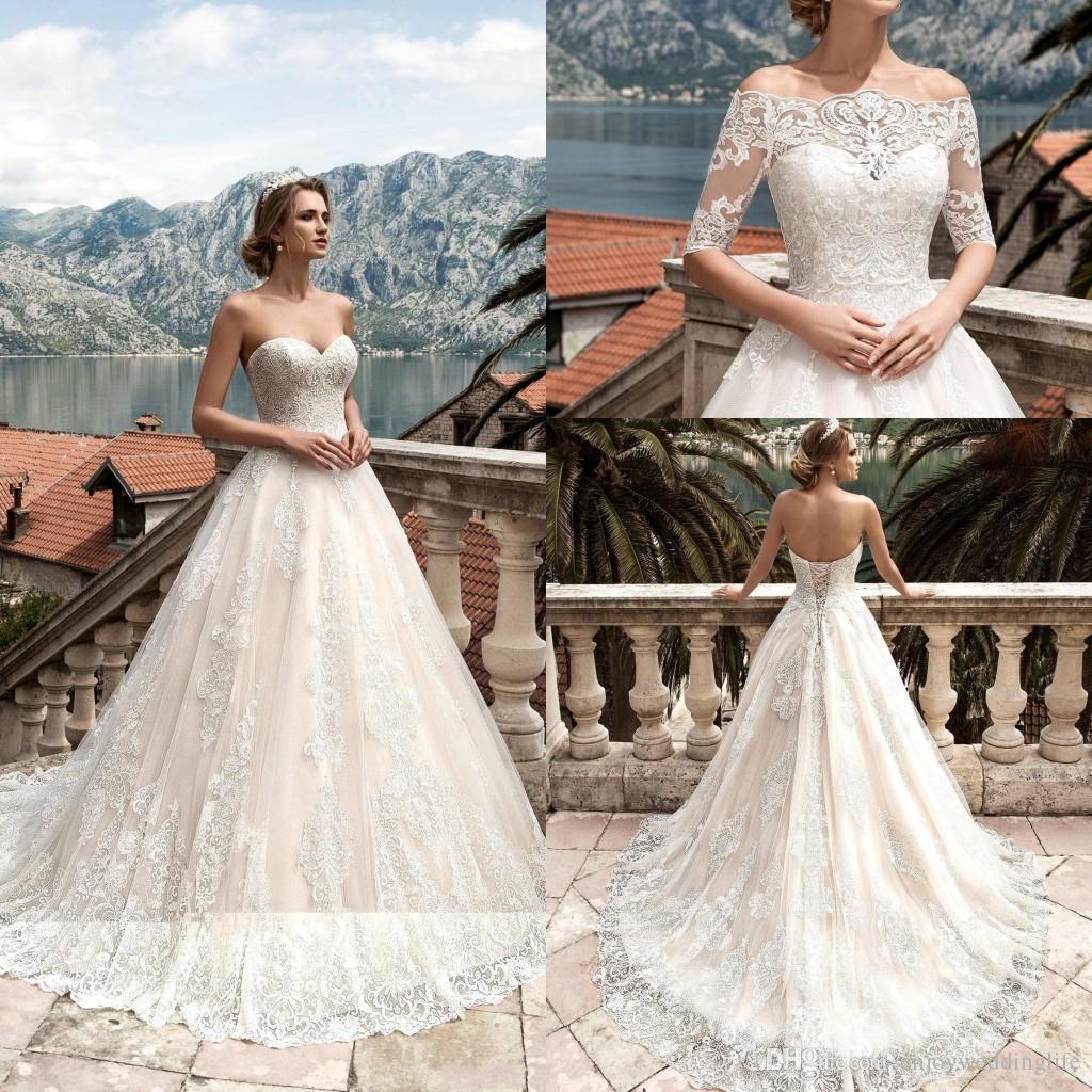 Vestidos De Noiva 2017 Brautkleider mit Abnehmbaren Halblangen Ärmeln Spitze Applizierte Brautkleider Korsett Zurück Nach Maß Brautkleider
