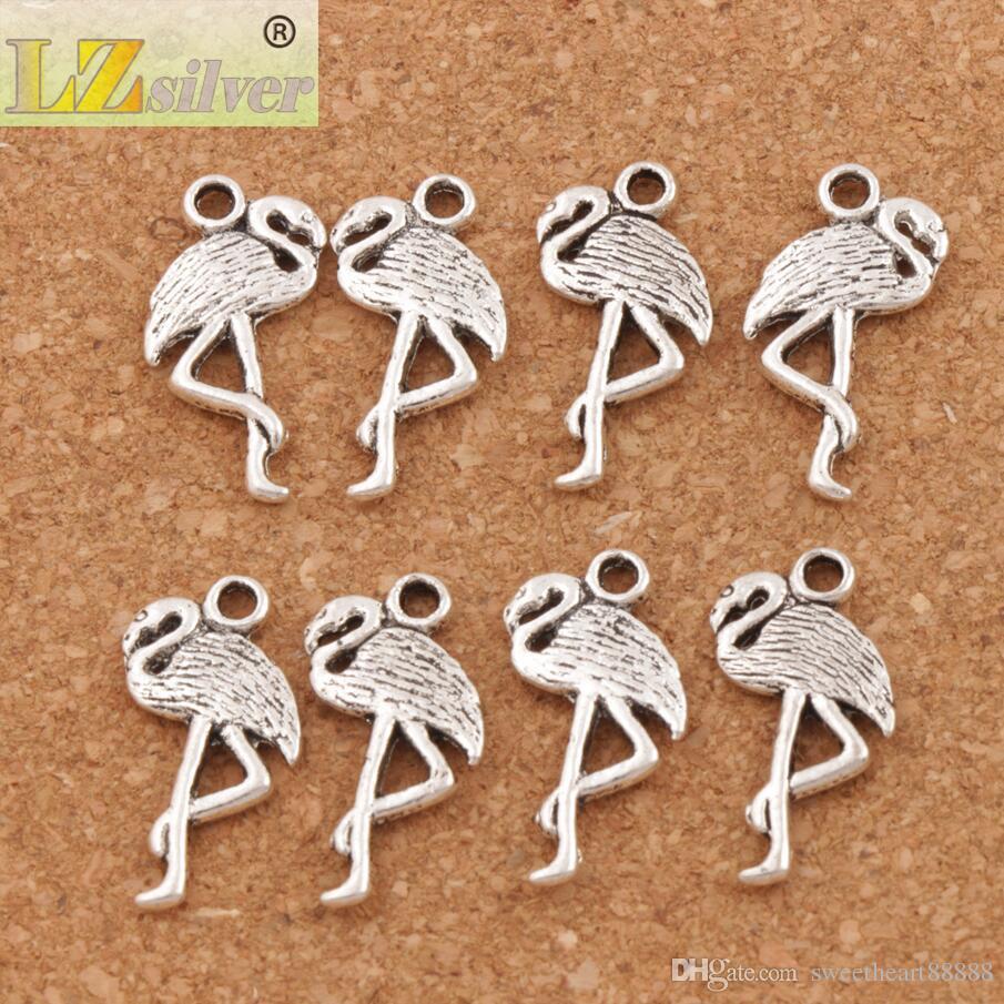 Flamingo Crane Charmes Pendentifs / Nouveau 24x10mm Antique Argent L186 Résultats de Bijoux Composants DIY Fit Bracelets Colliers
