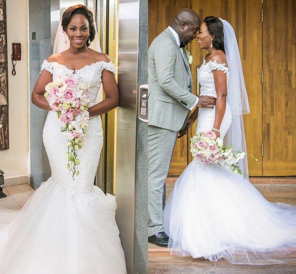 2017 Nigérian Africain Nouvelle Sirène Robes De Mariée Hors Épaule Dentelle Applique Dos Nu Balayage Train De Mariage Robes De Mariée Sur Mesure