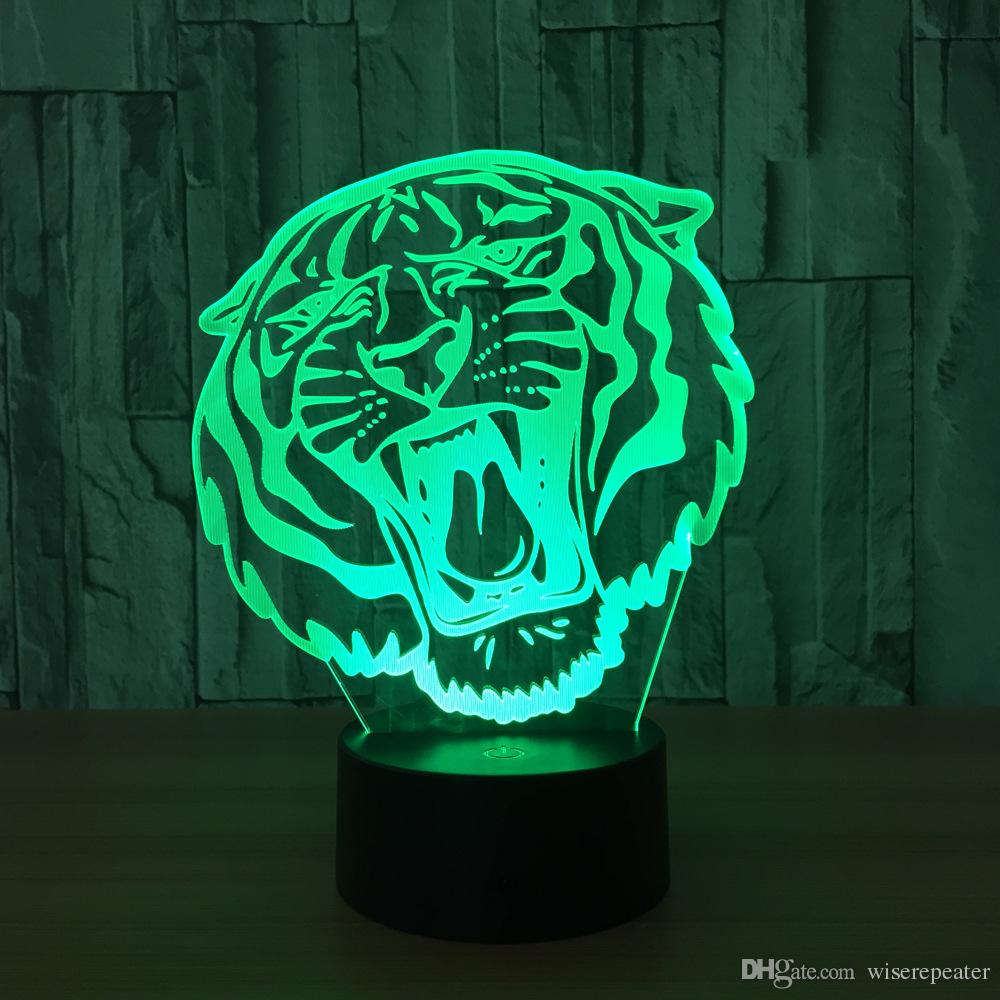 3D Tiger Head Illusion Lamp Night Light DC 5V USB Charging 5th Battery Wholesale Dropshipping Retail Box