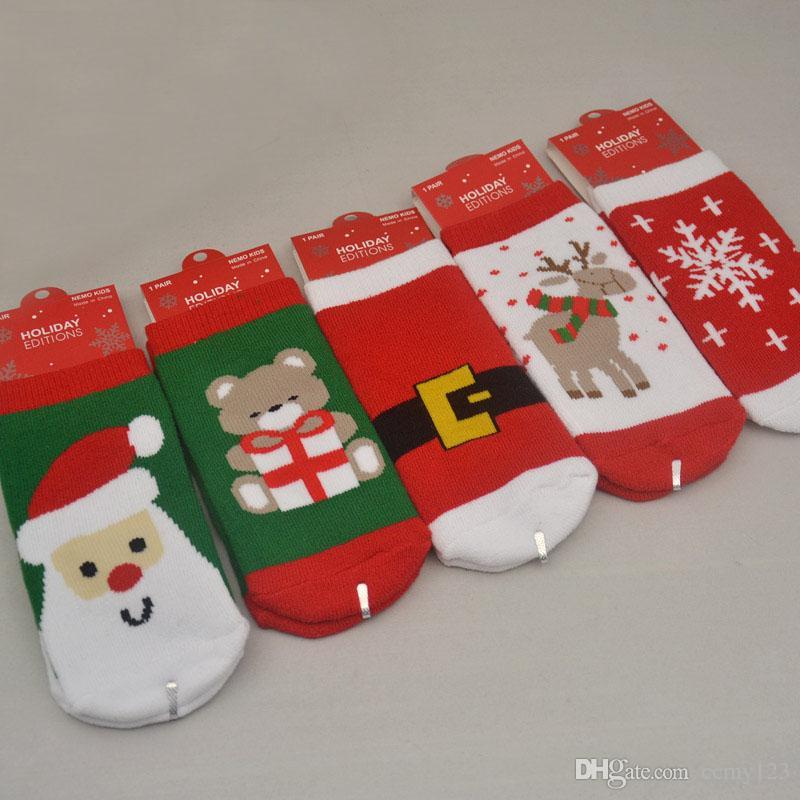 1-3 años Algodón Primavera Otoño Otoño Bebé Niñas Niños Niños Calcetines Niños Rayas Terry Copo de nieve Elk Papá Noel Navidad Oso