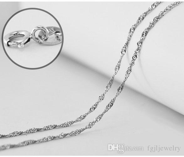 minmum order high quality white rhodium plated real 925 sterling silver water wave chain 18 inch 16 inch silver chain
