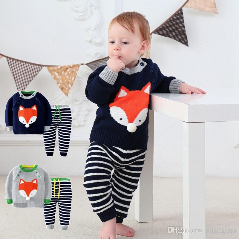 c5f715223 Autumn Winter Baby Clothes Set Knitted Pullover Sweater And Long ...