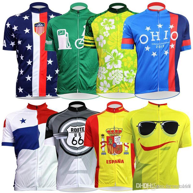 307c6c197 Cartoon US Flag Cycling Jerseys Short Sleeves Cycling Tops MTB Ropa Millot  Summer Style XS-4XL For Men Women Bike Wear Cycling Jerseys Bike Wear  Bicycle ...