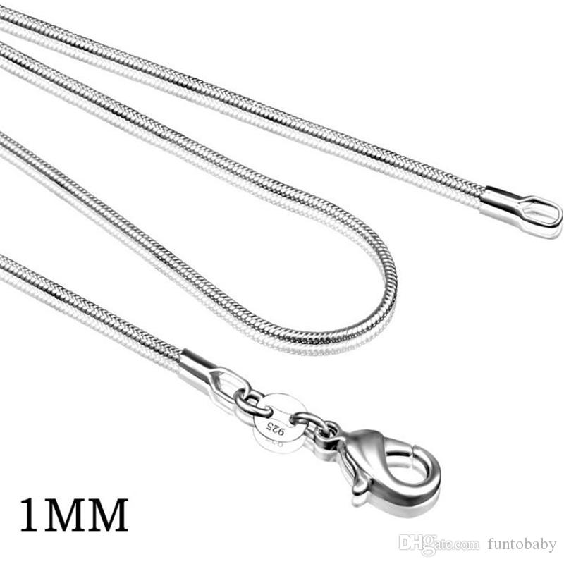 Hot sale ! Size 1mm 925 Sterling Silver Smooth Snake Chain Necklace Lobster Clasps Chain Jewelry 16inch --- 24inch