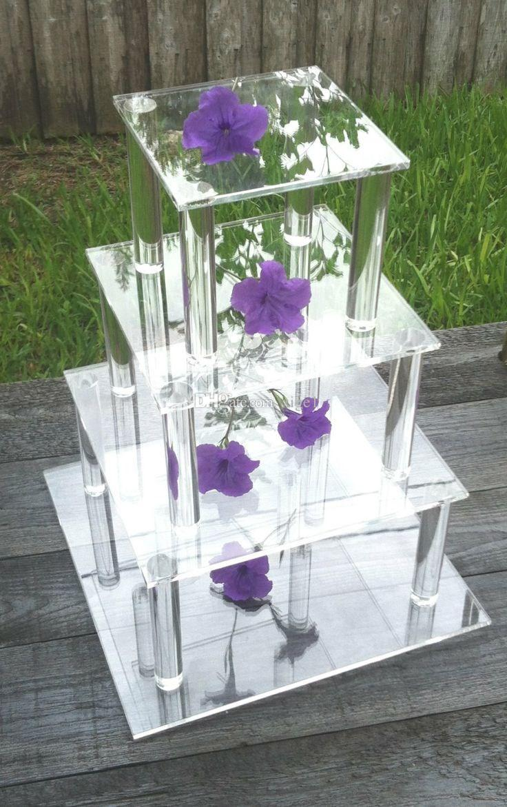 4 Tier Square Clear Wedding Favors Cupcake/Wedding Party Acrylic ...