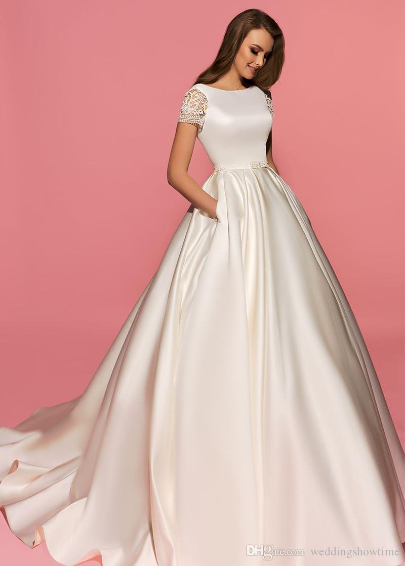 Compre Impresionante 2017 Vintage Satén A Line Vestidos De Novia Con ...