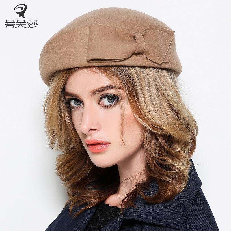 Wholesale-Lady Fashion Beret Hat Women Autumn And Winter New Wool ... 7be836ddd36