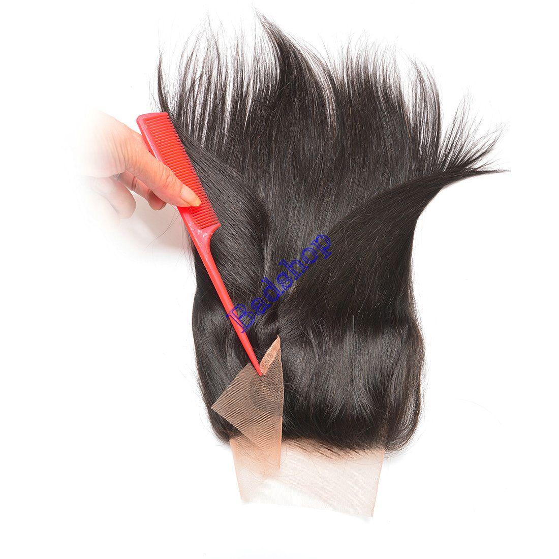 13x4 실키 스트레이트 사전 뽑아 레이스 정면 폐쇄와 아기 머리 인도 레미 처녀 인간의 머리 레이스 정면으로 번들 무료 배송
