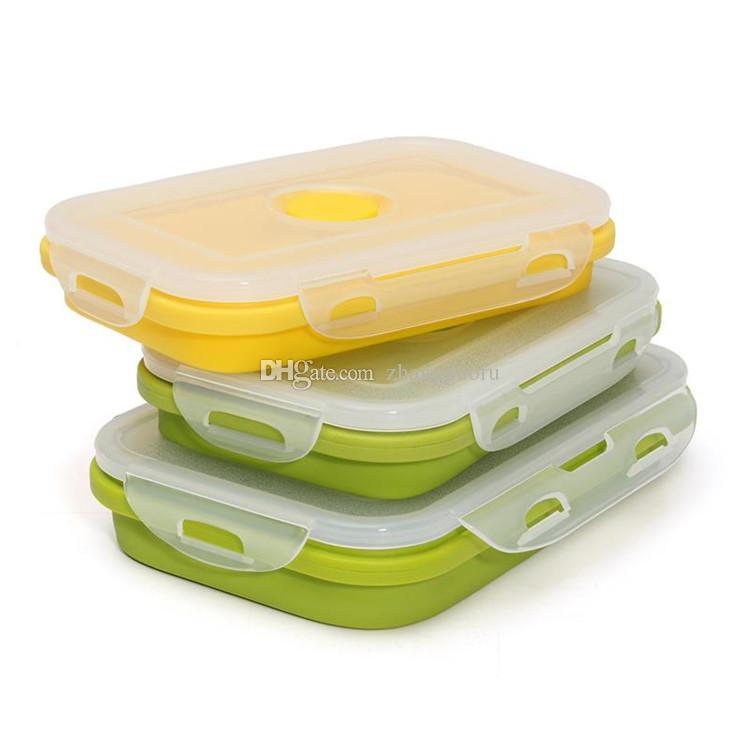 أدوات منزلية الغداء مربع لطي المحمولة الغذاء الصف سيليكون السلطانية بينتو صناديق للطي الغذاء تخزين الحاويات الغداء مربع صديقة للبيئة