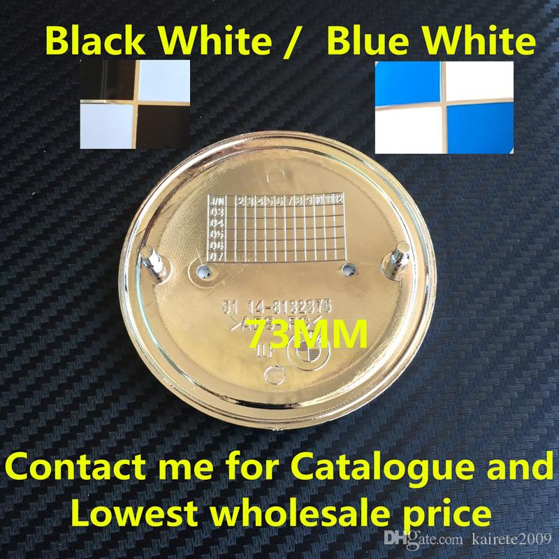New Car Styling 82mm 74mm Blue Black White Front Hood Rear Boot Badge Emblem