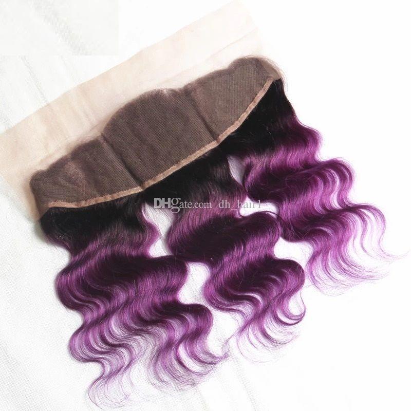 Девы малайзийский омбре волна тела волос ткет с кружевом фронтальной уха до уха закрытия с пучками два тона 1b фиолетовый ломбер волос 4 шт.