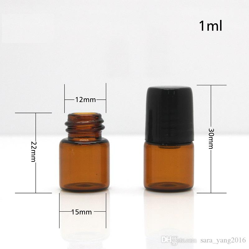 1 ml 2 ml Slim Amber Tube Glass Roll-On fragancia botellas de perfume recargables rollo de perfume portátil en la botella wa2960