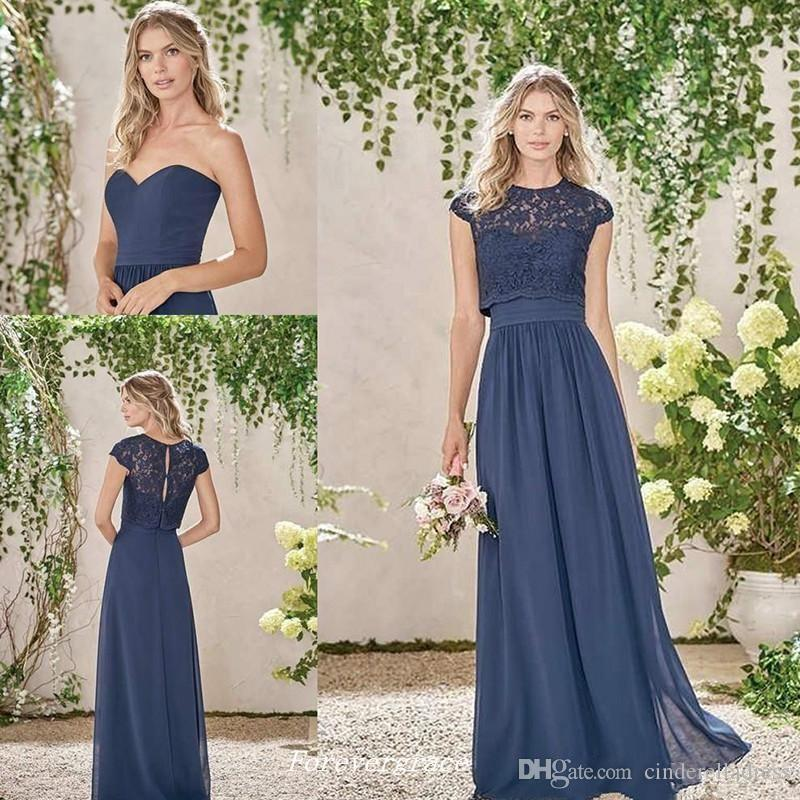 Elegant Billiga Dark Navy Long Bridesmaid Dresses Two Piece Lace Maid of Honor Dress Wedding Guest Gown Custom Made Plus Size