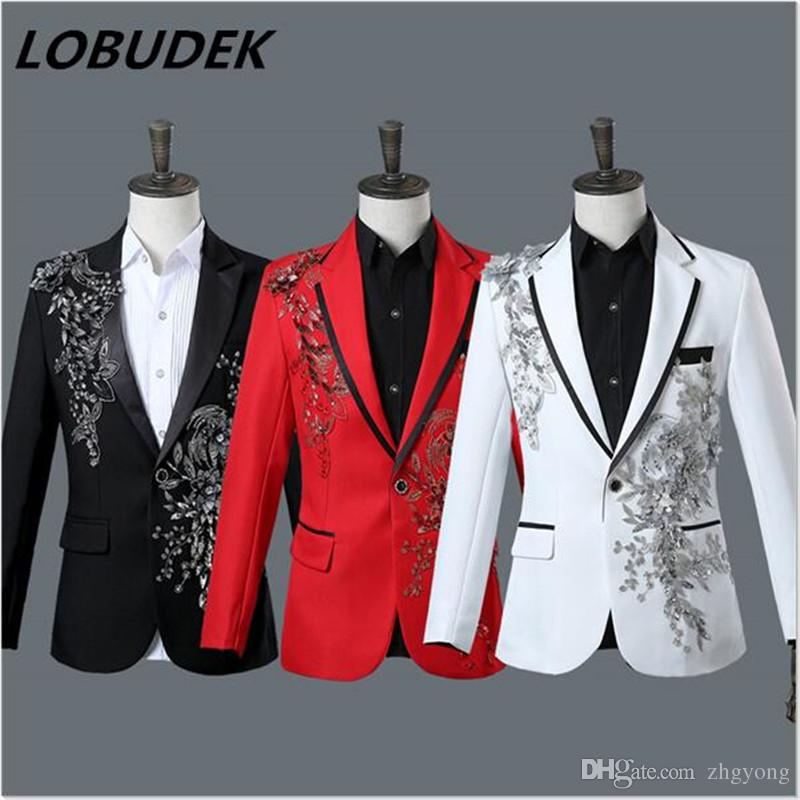 (jacket+pants) male suit host stage wear singer nightclub bar prom costumes glee club prom formal show performance sequins set with diamonds