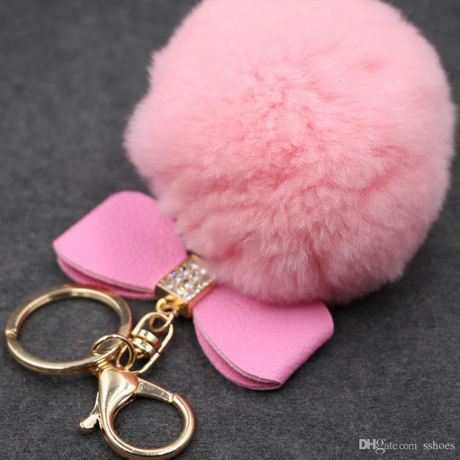 18 색 크리스탈 라인 석 웨딩 선물 8cm 진짜 토끼 모피 볼 키 체인 패션 바느질 열쇠 고리 열쇠 고리 펜던트