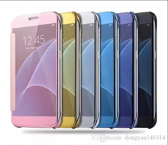 Fashion Clear View Window Smart Cover Mirror Screen Flip PC Electroplate Cover for Iphone 6s plus 7plus Samsung S6 edge S7 S7 edge