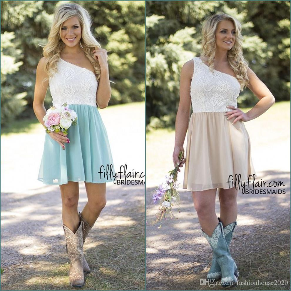 Short Country Wedding Dresses: Sexy Short Country Bridesmaid Dresses One Shoulder Lace