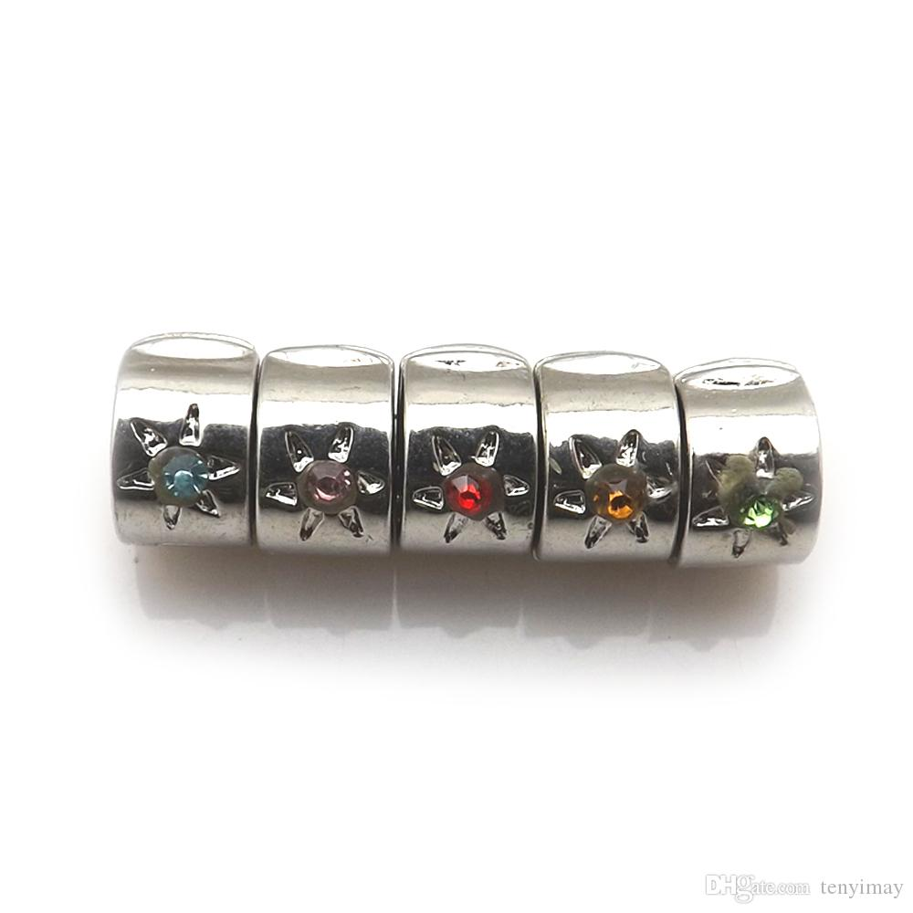 Mixed Color 15mm Silver Plated Rhinestone Stopper, Positioning Buckle Fit Snake Chain Bracelet Pack of 50