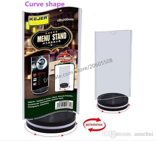 fashion Rotatable acrylic restaurant menu card display stand Advertising tag sign card Rotate 360 ° Bar Desk card holder rack