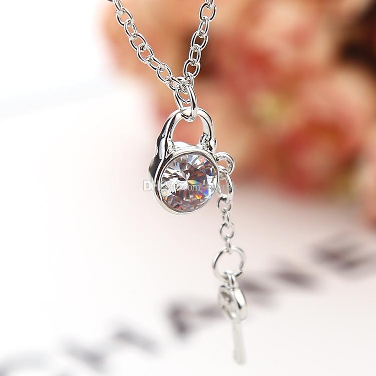 New York Fashion Tone Crystal Necklace silver gold plated padlock key pendant chain Necklaces fashion brand Jewelry for women