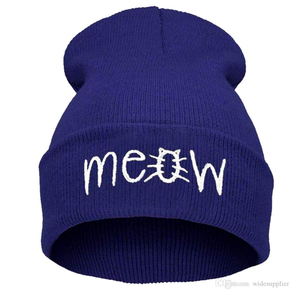 Women and Men Beanies cat Cotton meow beanies hats for Winter Spring Wool Warm Knitted Caps Casual winter hat hip hop skullies