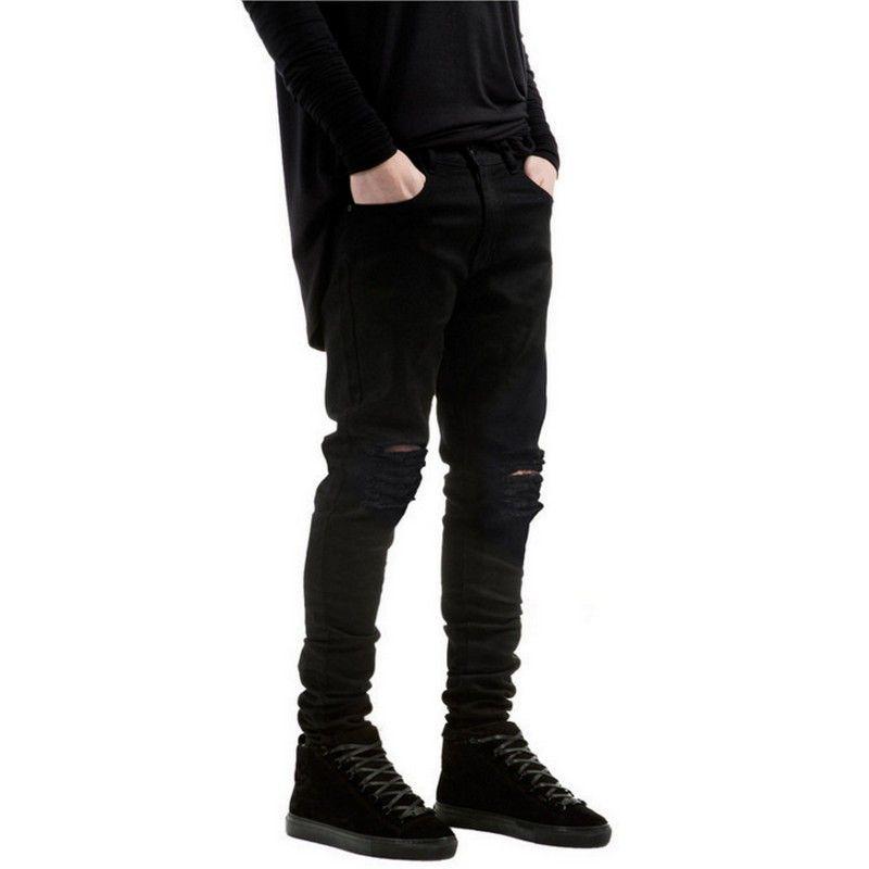 Acheter Nouveau Noir Déchiré Jeans Hommes Avec Trous Denim Super Skinny  Célèbre Designer Marque Slim Fit Jean Pantalon Rayé Biker Jeans De  40.61  Du ... c9572f1fda19
