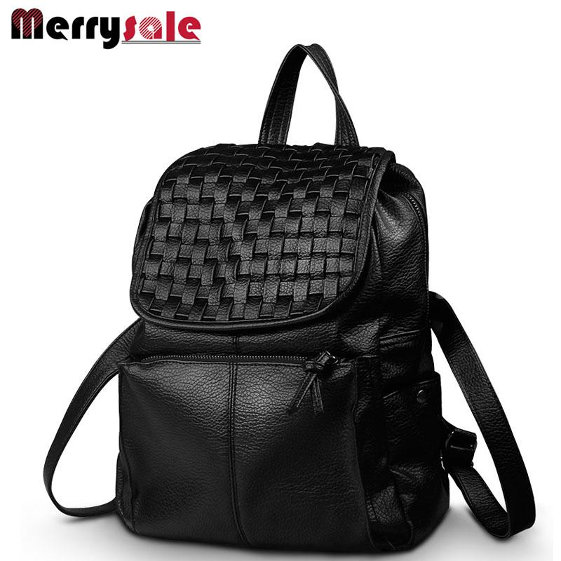 Wholesale- new spring and summer 2017 South Korea leather female bag backpack knitted fashion lady bag