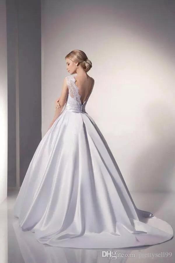 Personalizzati Pizzo Abiti da sposa 2020 con applicazioni gioiello Neck sweep treno Backless abito da sposa Abiti da sposa