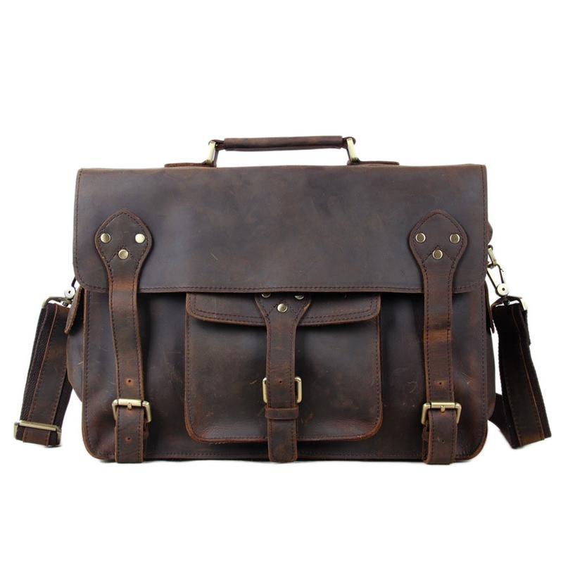 Wholesale- ROCKCOW Hotsale Crazy Horse Leather Briefcase Laptop ... d4fe10da0f9b3