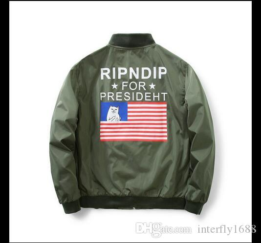 Ripndip Bomber Jacket Men Ma1 Usa Flag Kanye West For President ...