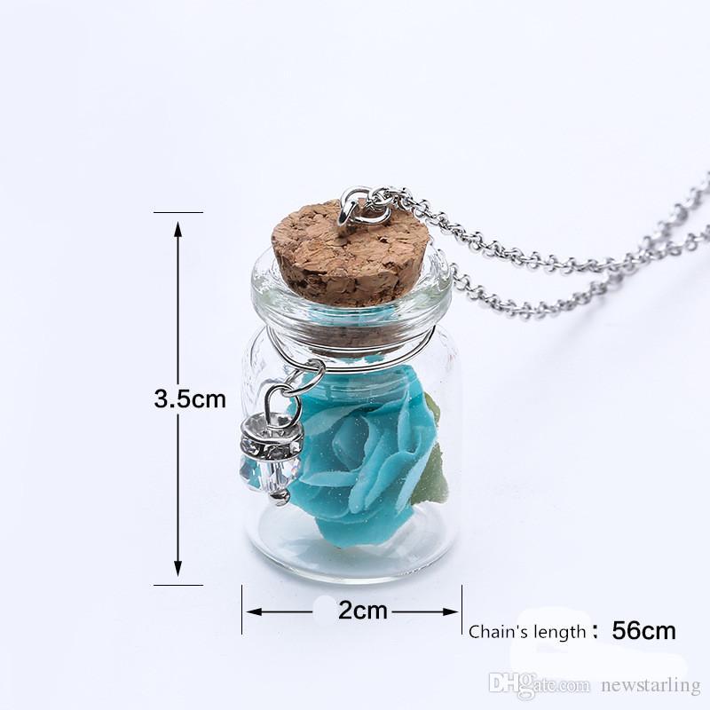 Светящийся свечение в темноте цветок розы дрейф бутылка кулон светящийся цветок свет стеклянная бутылка ожерелье для женщин ювелирные изделия подарок пара ожерелье
