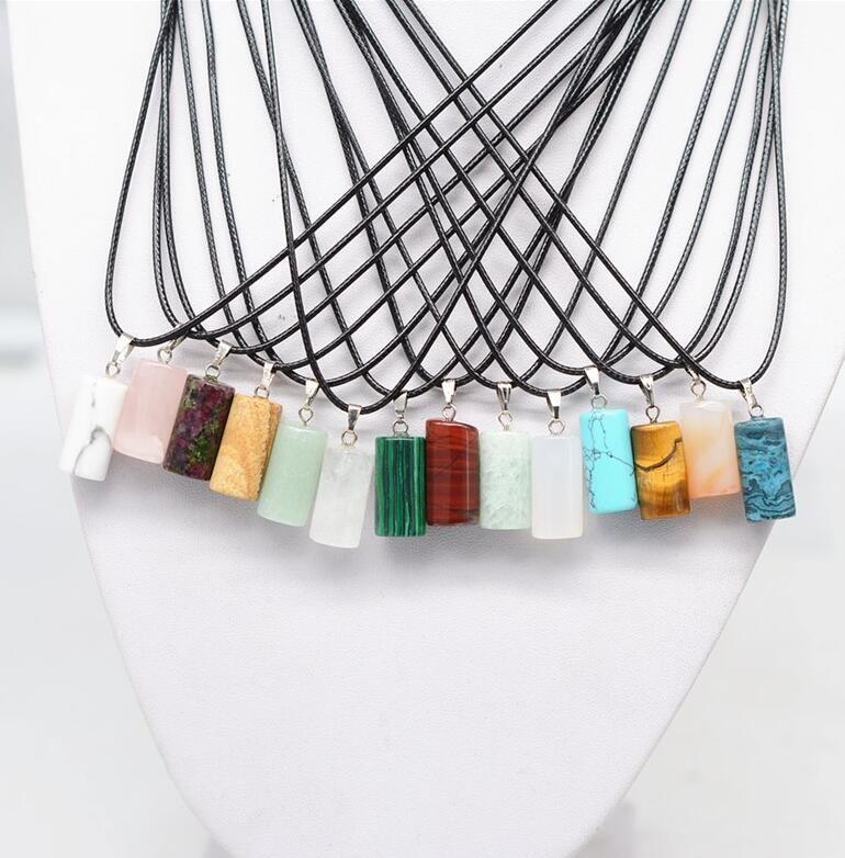 10 estilos Collares pendientes de piedra natural con cadena de cuero PU Bala Prisma hexagonal Cruz luna formas Cristal Joyas para mujeres hombres niña