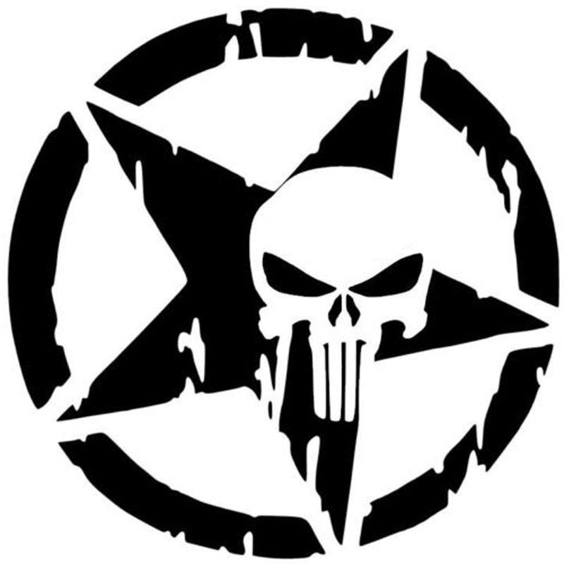 New design car stying the punisher skull car sticker pentagram vinyl decals motorcycle accessories jdm car sticker vinyl sticker car styling online with