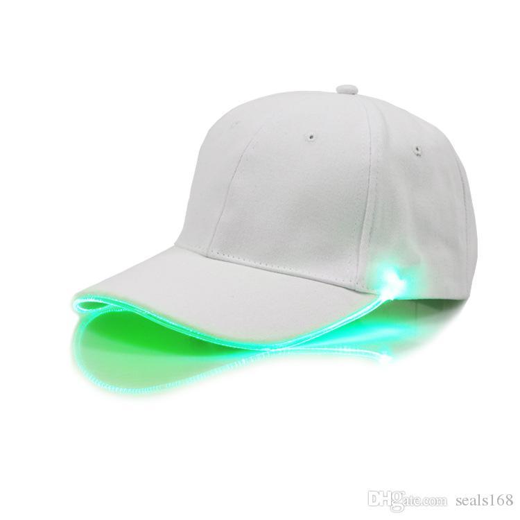 LED Lighted Baseball Cap Glow Club Baseball Hip-Hop Golf Dance Hat Optical Fiber Luminous Ball Caps Adjustable Xmas Party Hats HH7-208