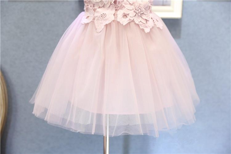 Sweet girls pink flower dress sleeveless baby girl prom halloween christmas party dresses kids tutu skirts children boutiques ball gown