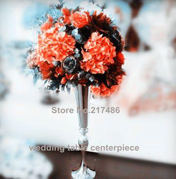 toptan gümüş metal şamdan düğün masa centerpieces