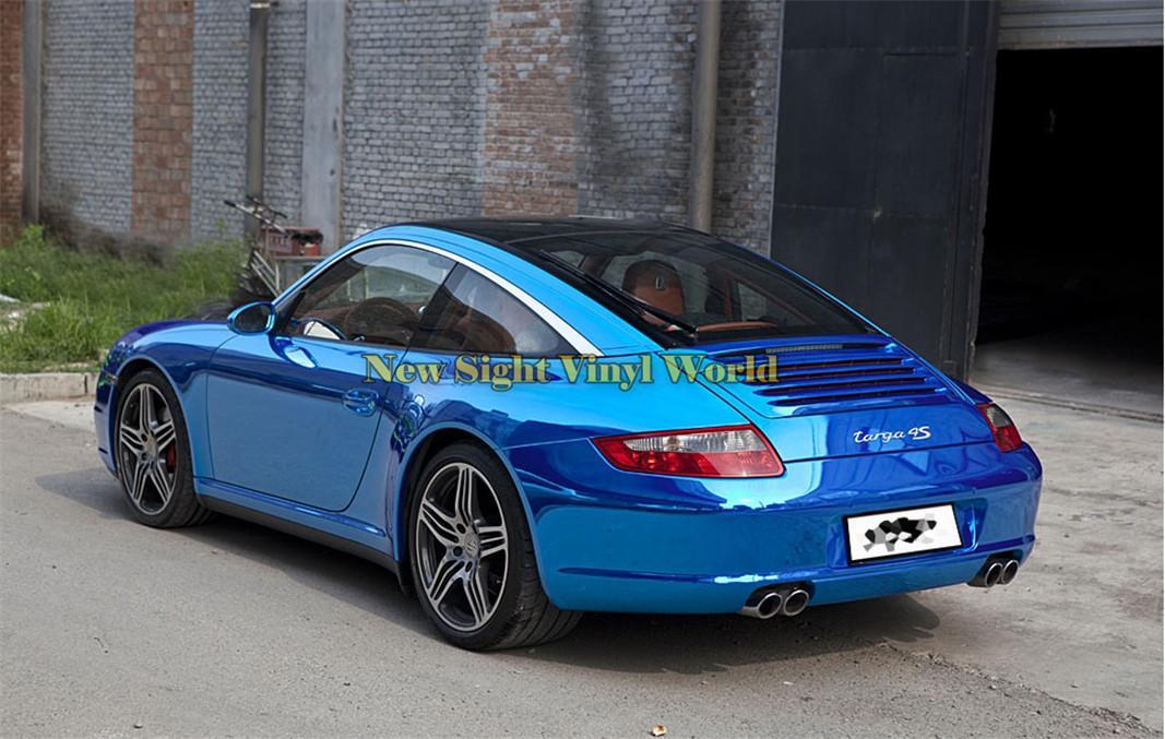 Pellicola vinilica blu lucida flessibile di alta qualità Pellicola blu cromata Avvolgente la confezione di auto senza bolle