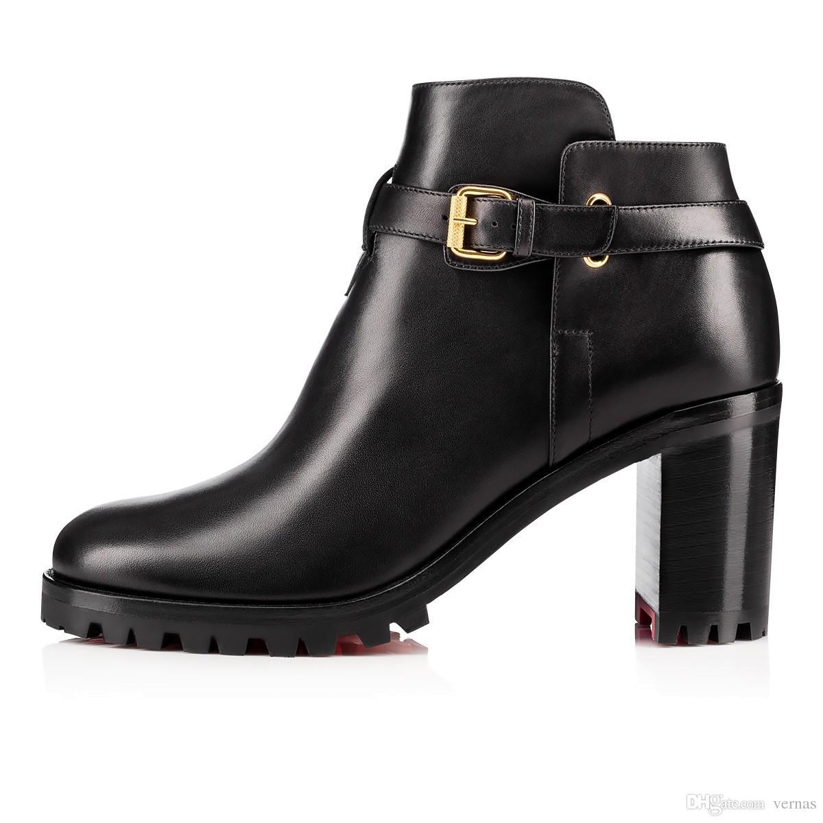 Moda Mujer Botas de Fondo Rojo Negro Comuna de Cuero Genuino Botines Para Las Mujeres Vestido de Fiesta Plana de Invierno de Lujo Zapatos de Diseñador Tamaño 35-42