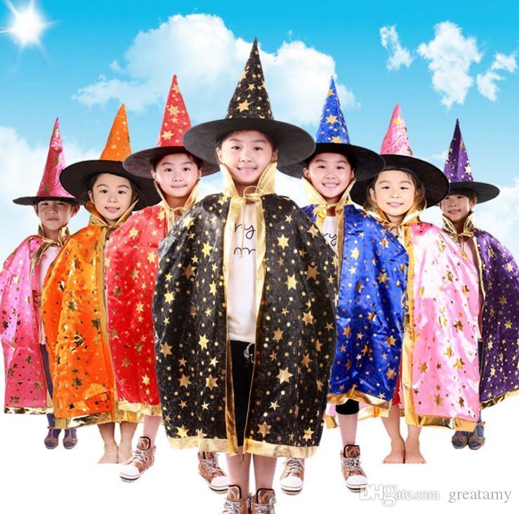 할로윈 망토 모자 파티 코스프레 장식 축제 멋진 복장에 대한 어린이 의상 마녀 마법사 가운 로브와 모자 의상 케이프 키즈 DHL에 의해