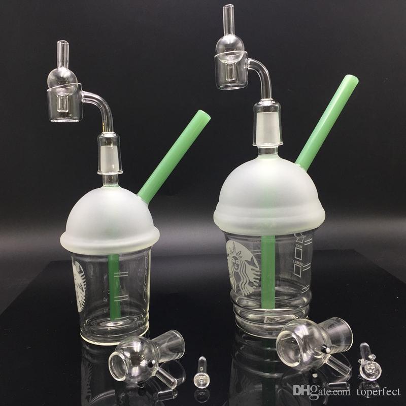 10mm 14.5mm 18.8mm Water Pipes Starbucks Cup Bong di vetro Dab Rigs e Oil Rigs Narghilè con 2mm femmina al quarzo 100% banger