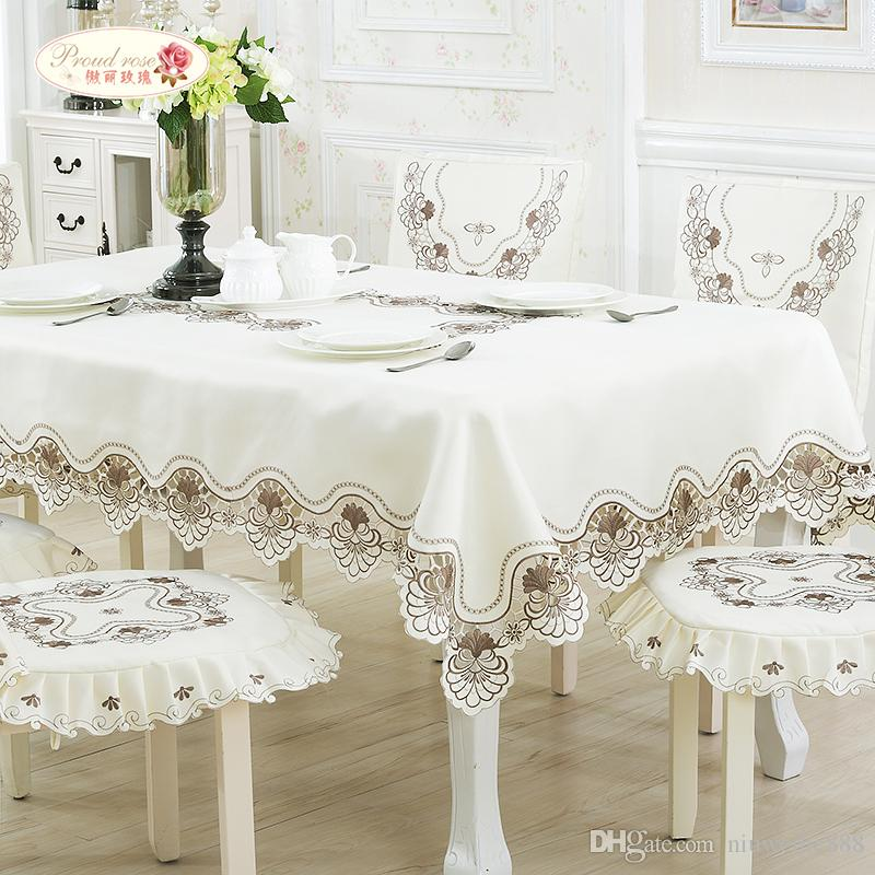 European Contracted Rice White Silk Embroidered Tablecloths/ Tea Table Cloth  Tv Ark Cloth/ Table Runner Chair Set Suit Cheap Linens For Sale Inexpensive  ...