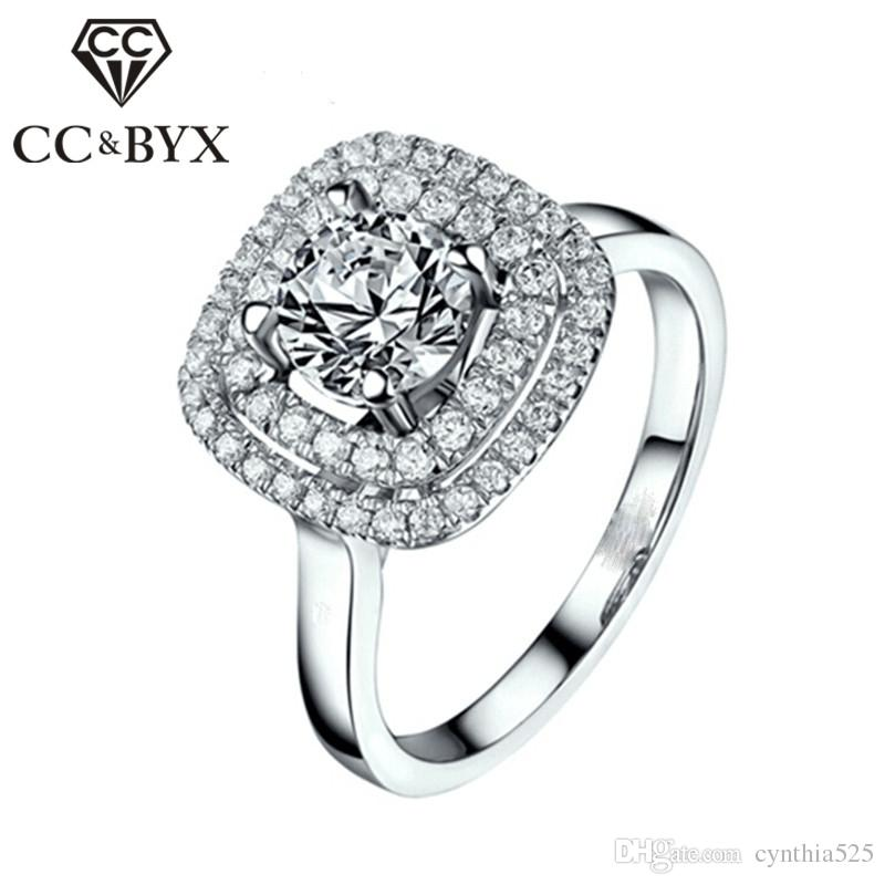 2018 Cc Jewelry Wholesale White Gold Filled Midi Ring Vintage Square
