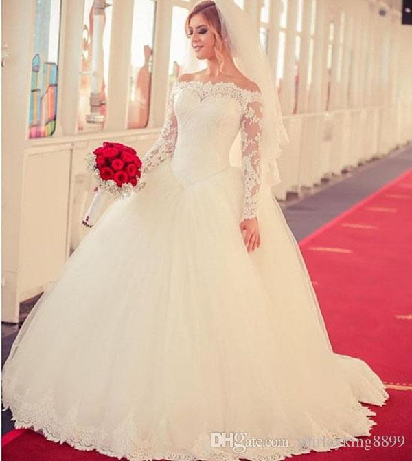 Gorgeous Sheer Ball Gown Wedding Dresses 2017 Puffy Beaded: Gorgeous White Lace Ball Gown Wedding Dresses 2017 Off